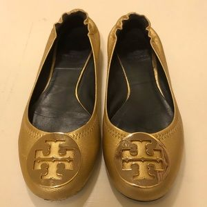 Tory Burch Reva Flat, gold leather, size 6